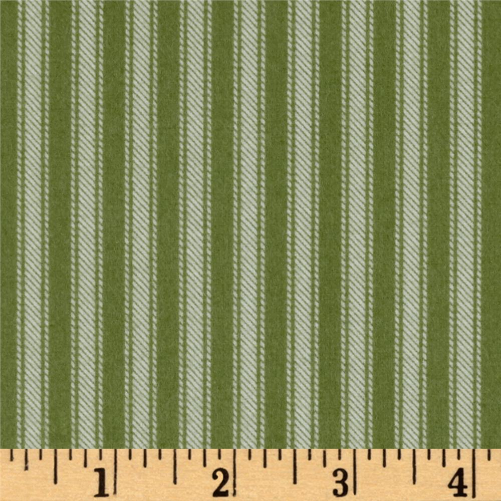 Newport Flannel Ticking Stripe Green Fabric By The Yard