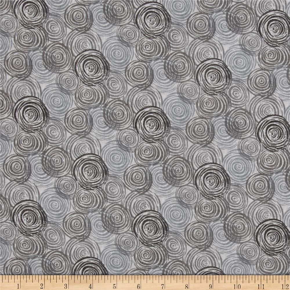 "108"" Flannel Textured Circles Light Gray"
