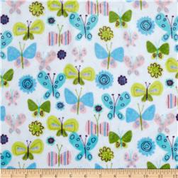 Minky Cuddle Fly Away Flutterby White Fabric