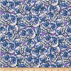 Cottage Garden Hollyhock Periwinkle Fabric