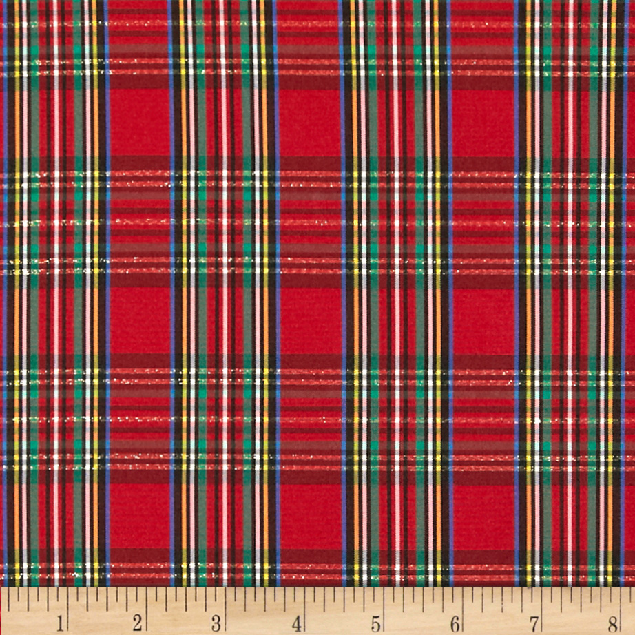 Taffeta Christmas Plaid Red/Multi Fabric