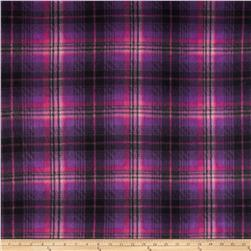 Fleece Print Bright Plaid Magenta