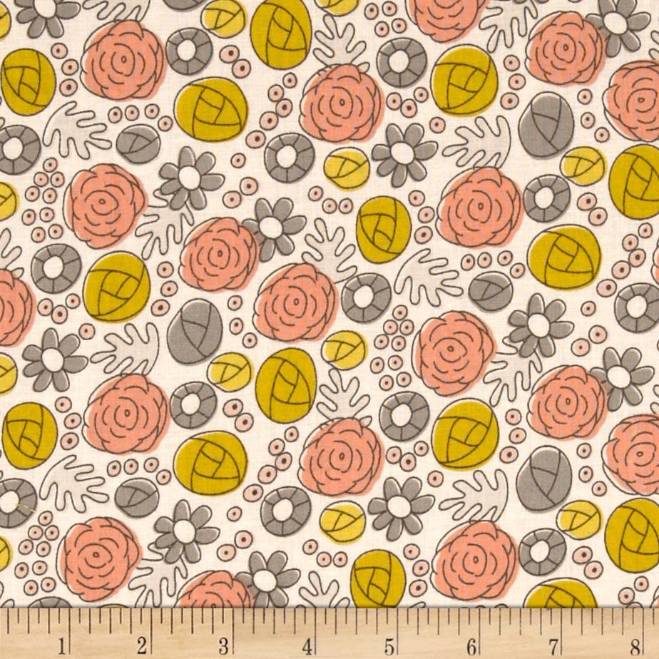 Cloud 9 Organic Grey Abbey Floral Whimsy Mustard