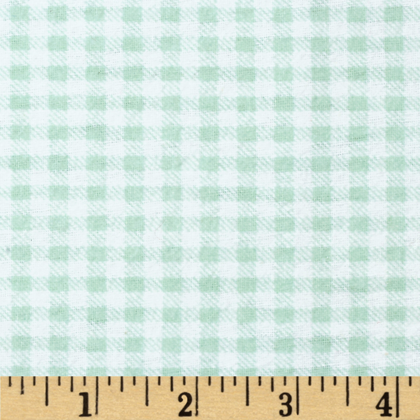 Aunt Polly's Flannel Gingham Light Sage/White Fabric
