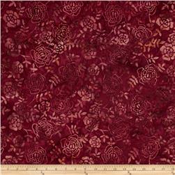Timeless Treasures Tonga Batik Fig Stencil Bouquet Ruby