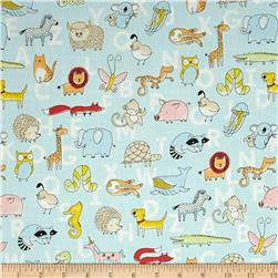 Animal ABCs Toile Organic Cotton Light Blue
