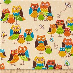 Owl Wonderful Flannel Packed Owls Cream