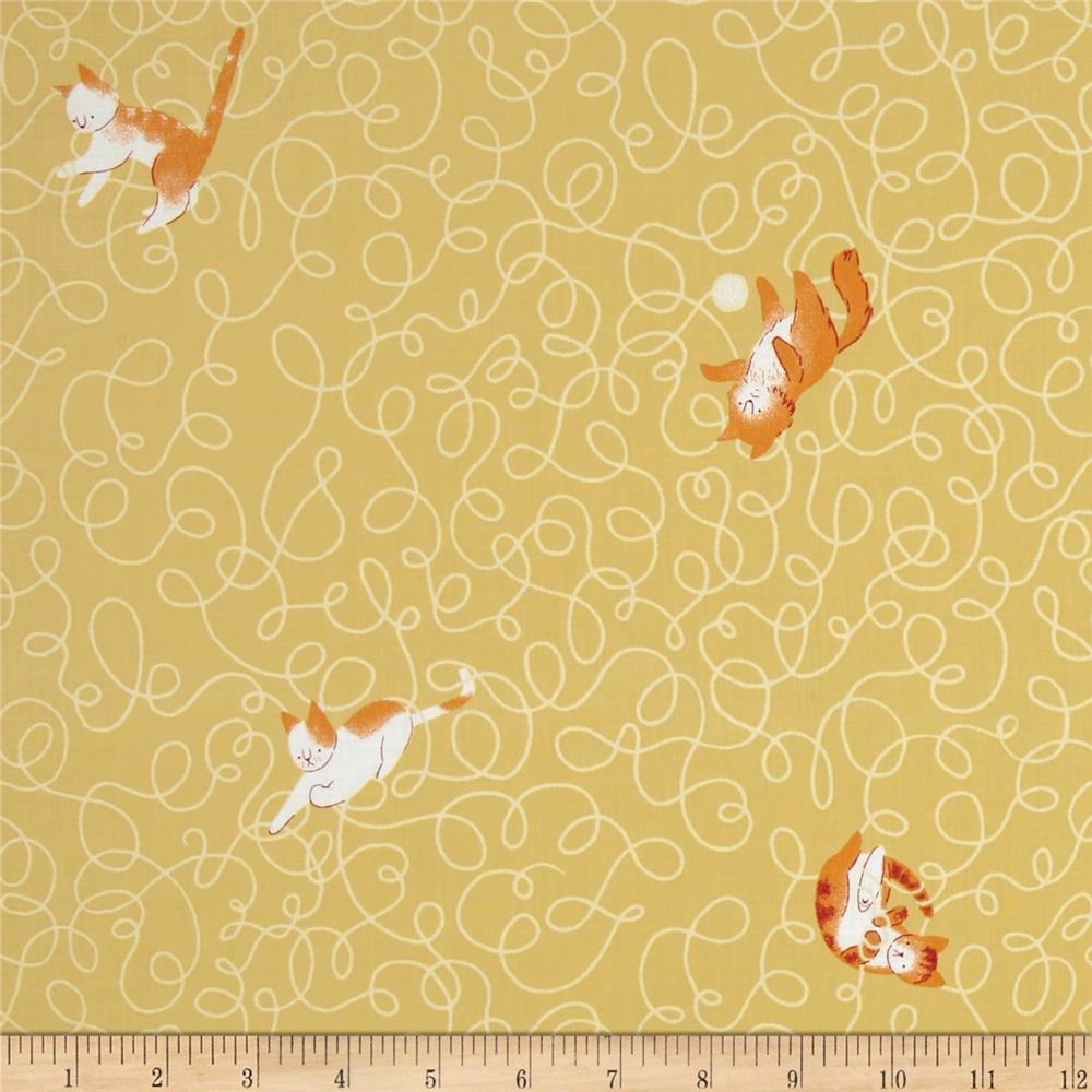 Here Kitty Kitty Organic Twine With Cats Gold