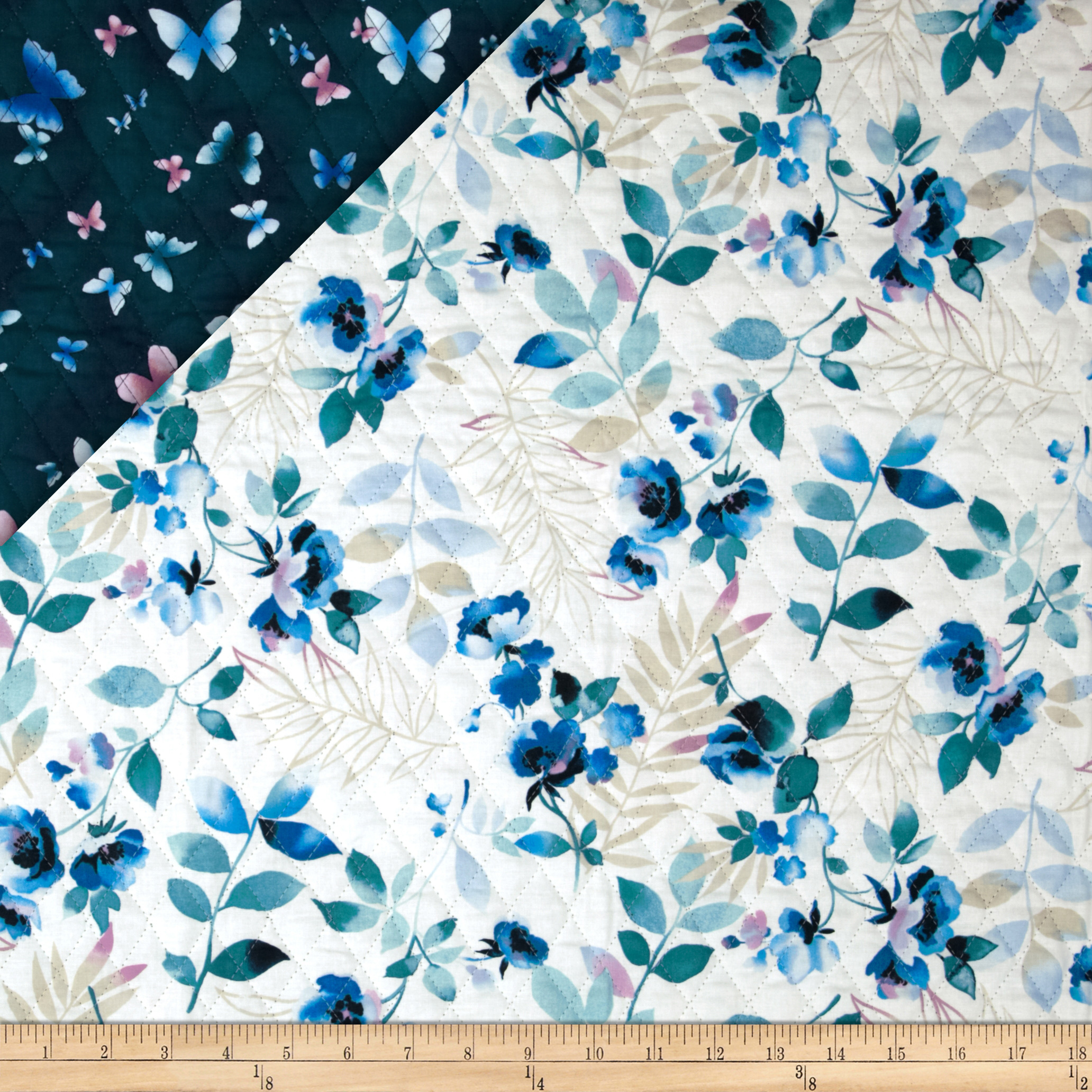 Summer Breeze Double Sided Quilted Butterflies Blue