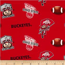 Collegiate Cotton Broadcloth Ohio State University Red/Grey