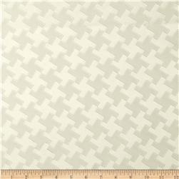 Starlight Houndstooth Satin Jacquard Beige Fabric