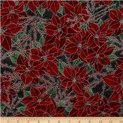 Berries and Blooms Metallic Poinsettias Onyx/Silver