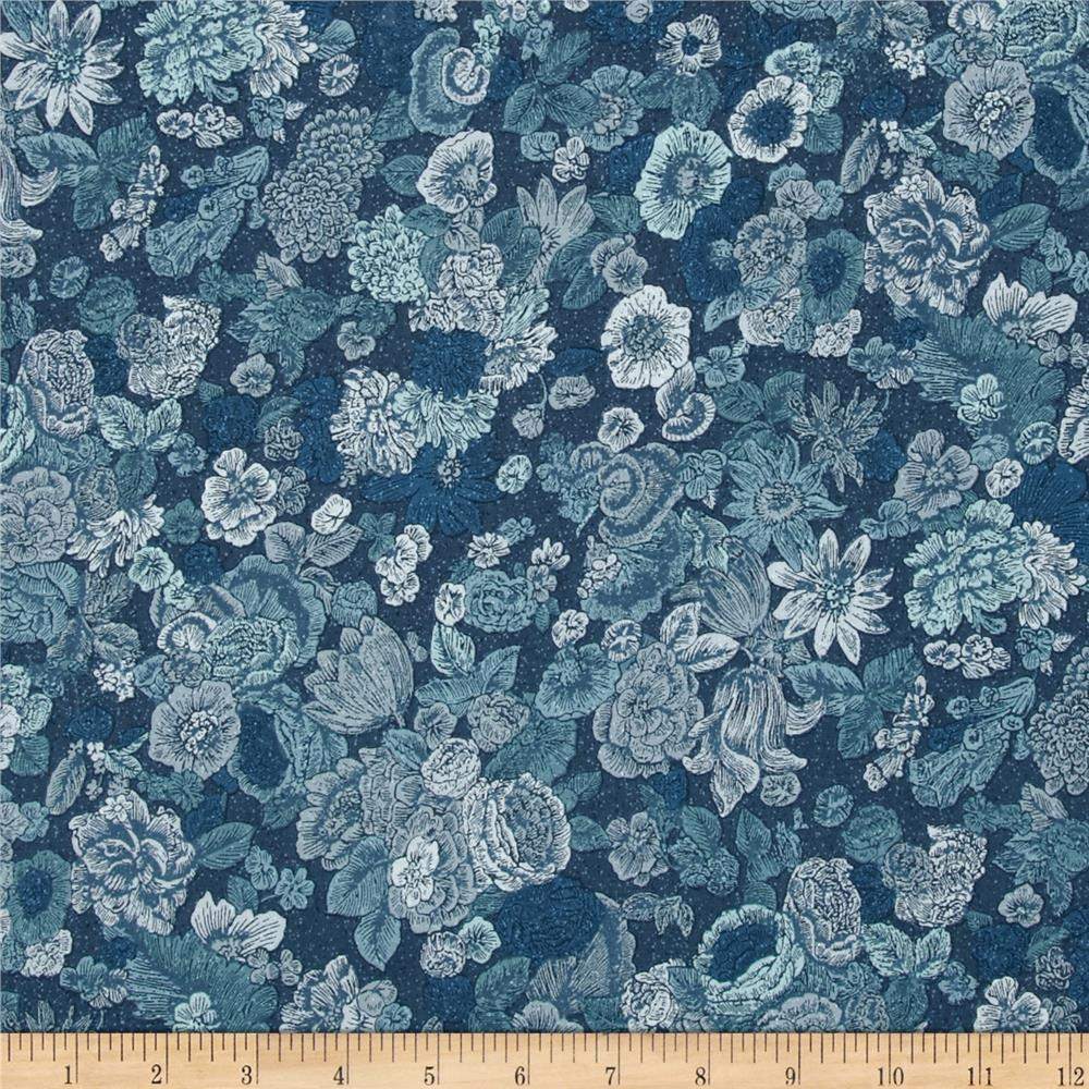 Fusion Garden Flowers Denim