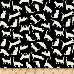 Monaco Stretch ITY Knit Cat Print Ecru/Black