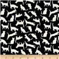 Telio Monaco Stretch ITY Knit Cat Print Ecru/Black