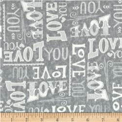 Moda Hugaboo Flannel Love You Huggable Grey