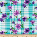 Rayon Challis Floral Plaid Light Blue/Purple