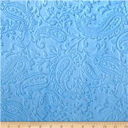 Minky Paisley Cuddle Embossed Baby Blue Fabric