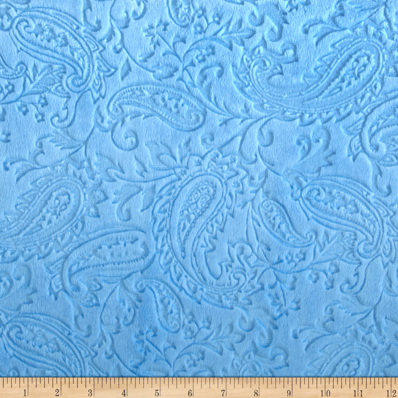Minky Cuddle Embossed Paisley Baby Blue Fabric