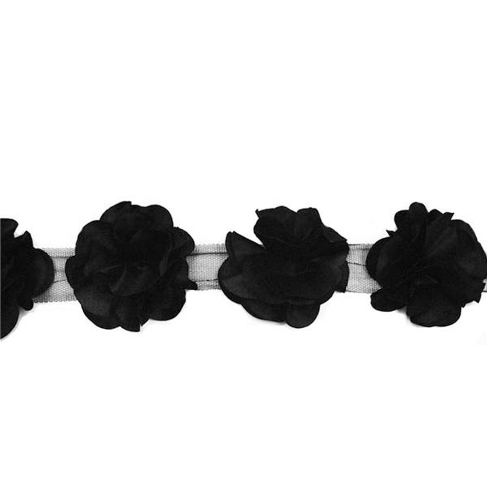 "3"" Satin Flower Trim Black"