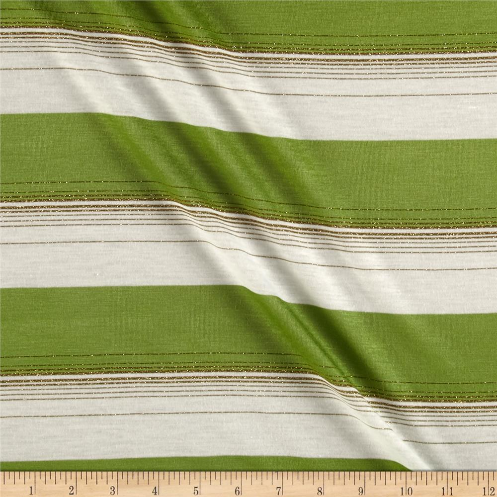 Metallic Blend Jersey Knit Stripes Green/Gold/White