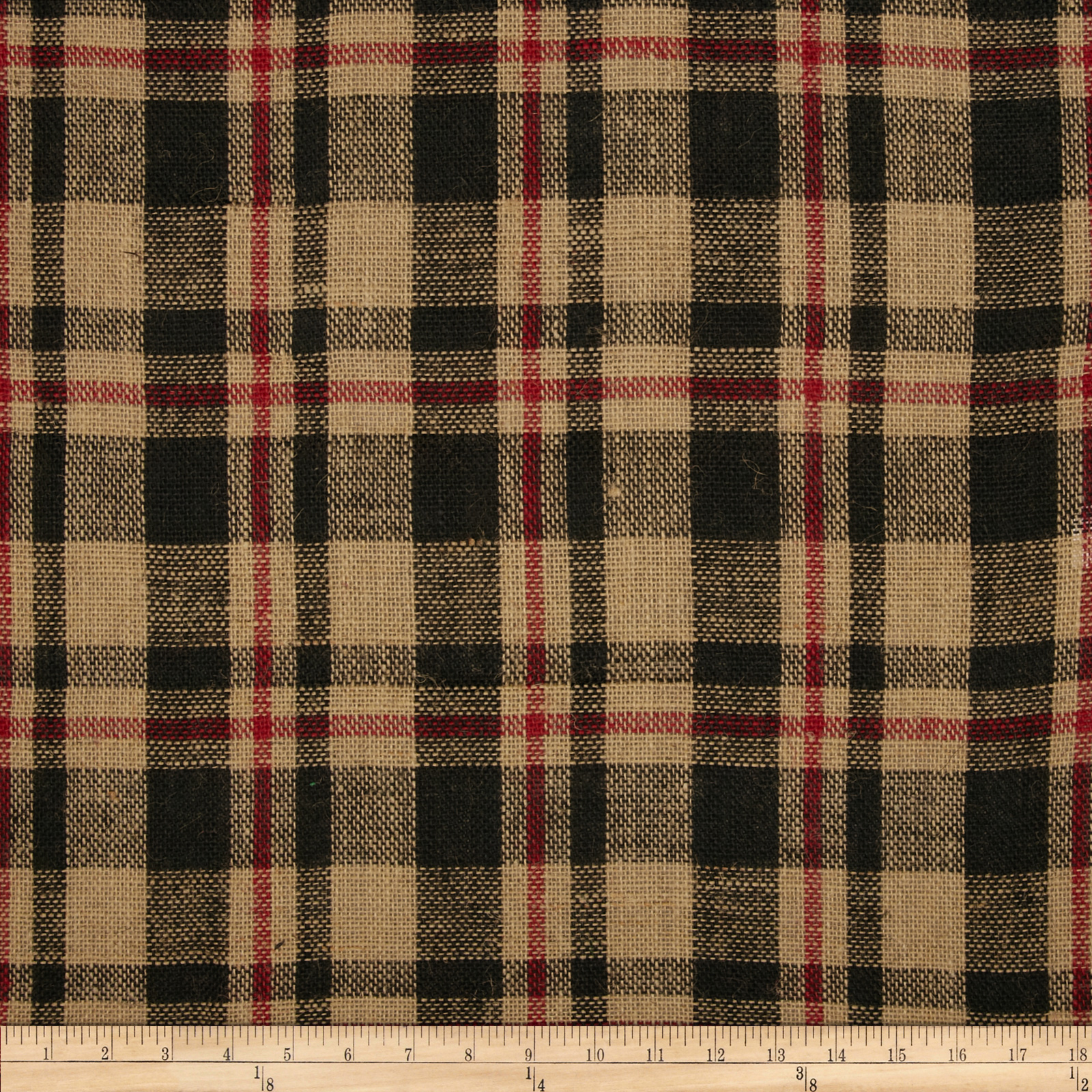 60'' Sultana Burlap Plaid Red/Black Fabric by James Thompson in USA