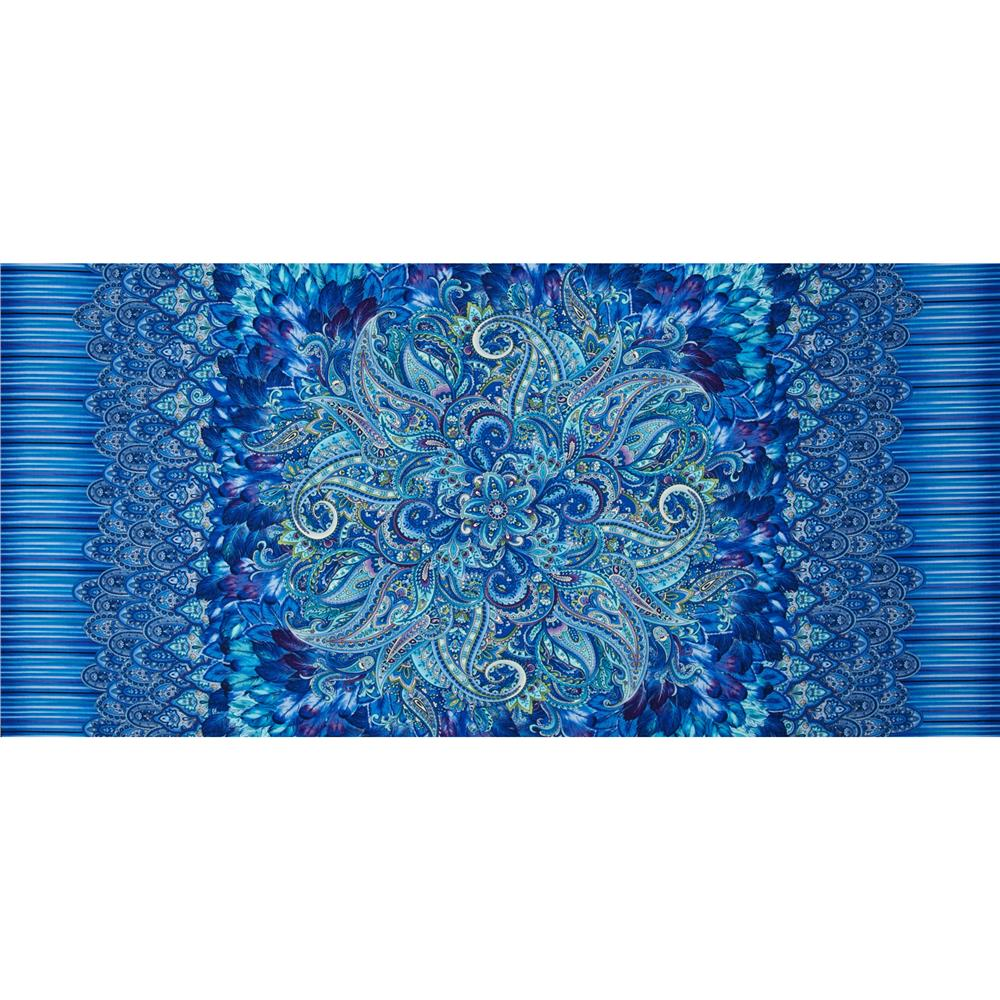 "Timeless Treasures Belize Panel 24"" Paisley Medallion Blue"