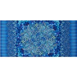 "Timeless Treasusres Belize Panel 24"" Paisley Medallion Blue"