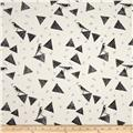 Kokka Echino Huedrawer Sateen Metallic Triangle Birds Cream