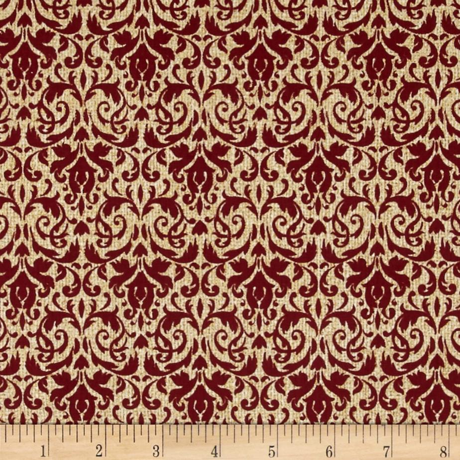 Homespun Holiday Metallic Damask Berry