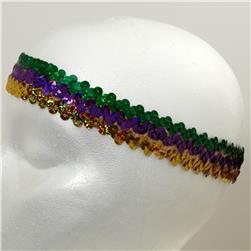 "1 1/4"" Hologram Stretch Sequin Headband  Green/Gold/Purple"