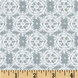 Winter's Kiss Victorian Snowflakes Metallic Grey Fabric