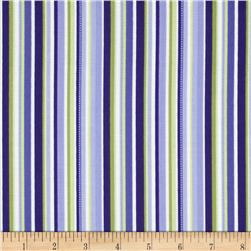 Botanical Blues Stripes Blue/Green Fabric