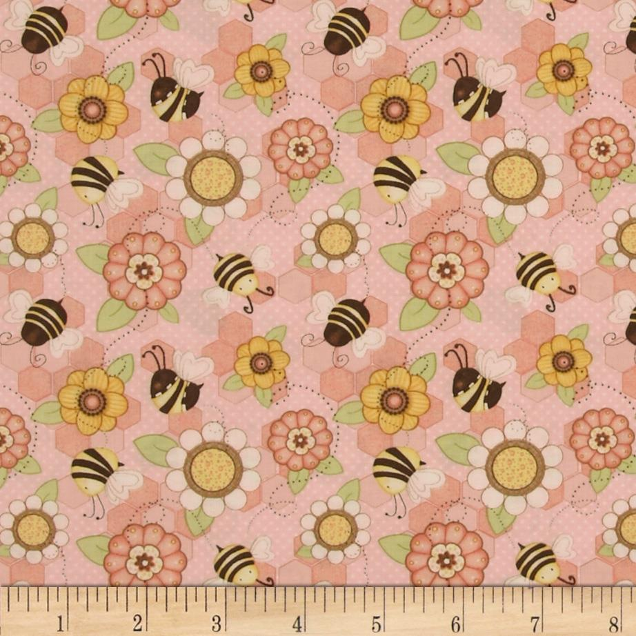 Let it Bee Flowers and Bees Pink