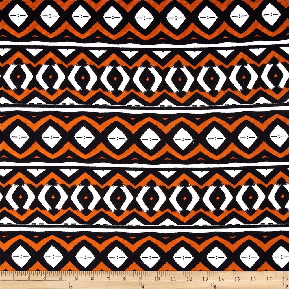 Stretch Ponte de Roma  Knit Aztec Print Orange