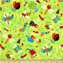 Timeless Treasures Flannel Bugtopia Tossed Bugs Lime