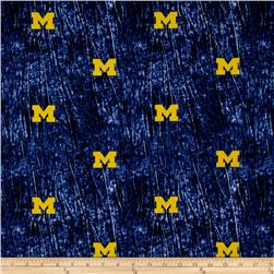 Collegiate Cotton Broadcloth University of Michigan Tie Dye Print Navy