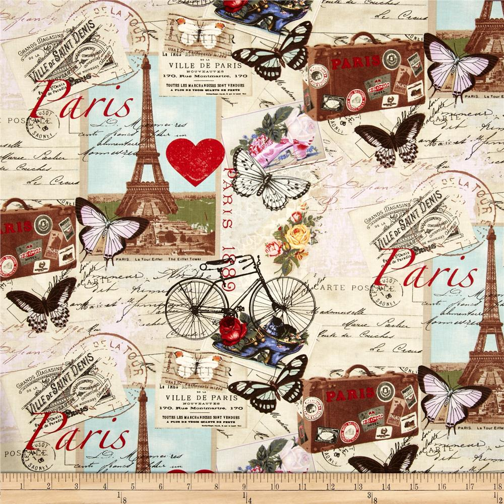 Transportation travel fabric fabric by the yard fabric timeless treasures paris collage antique gumiabroncs Images