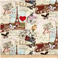Timeless Treasures Paris Collage Antique
