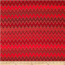 Winter's Grandeur Metallic Chevron Crimson