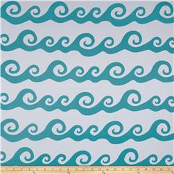 RCA Blackout Drapery Fabric Nautical Waves Aqua