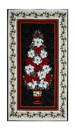 "Holiday Trimmings Poinsettia Tree 23"" Panel Black"