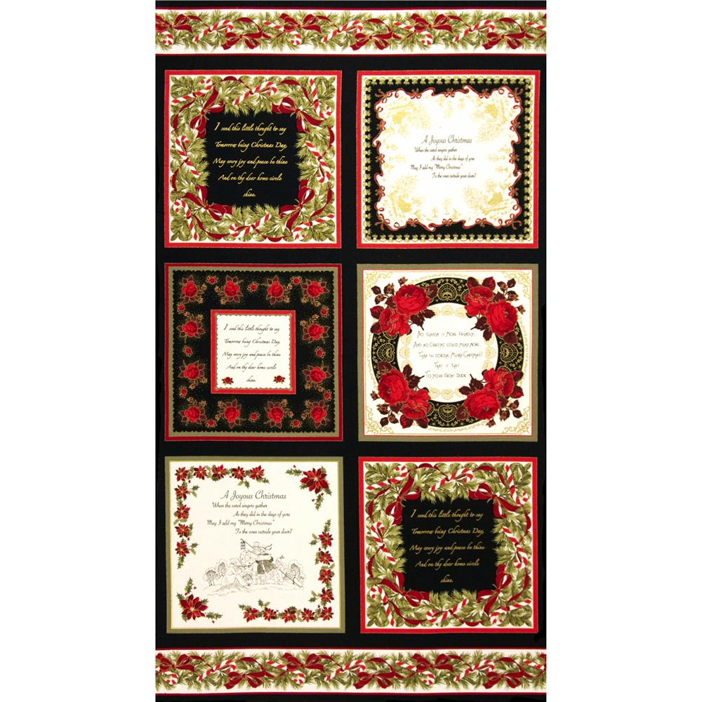Season's Greetings Christmas Cards Panel Black