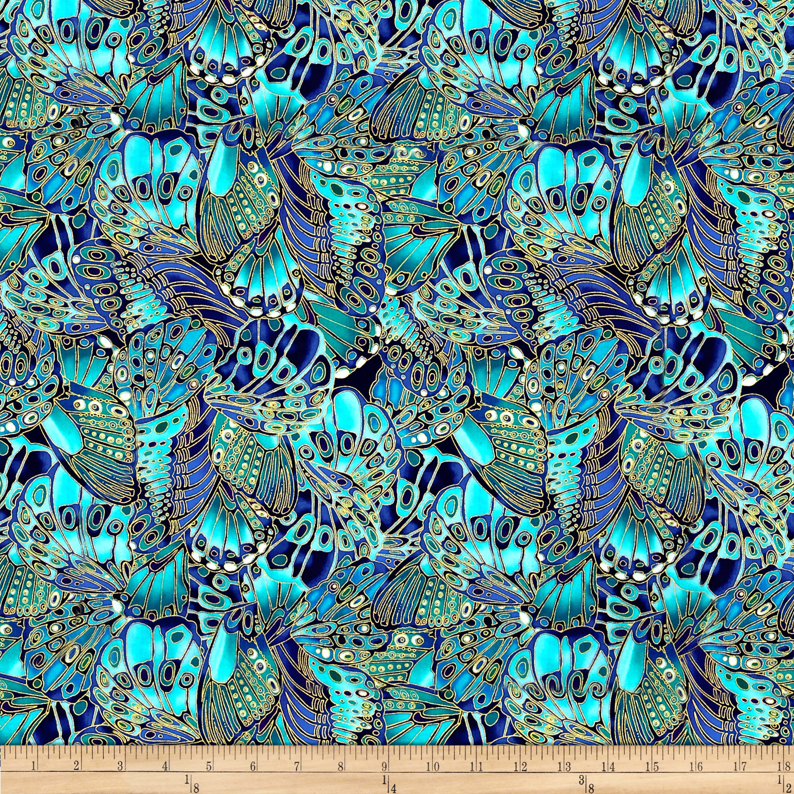 Timeless Treasures Shimmer Packed Butterflies Turquoise Fabric