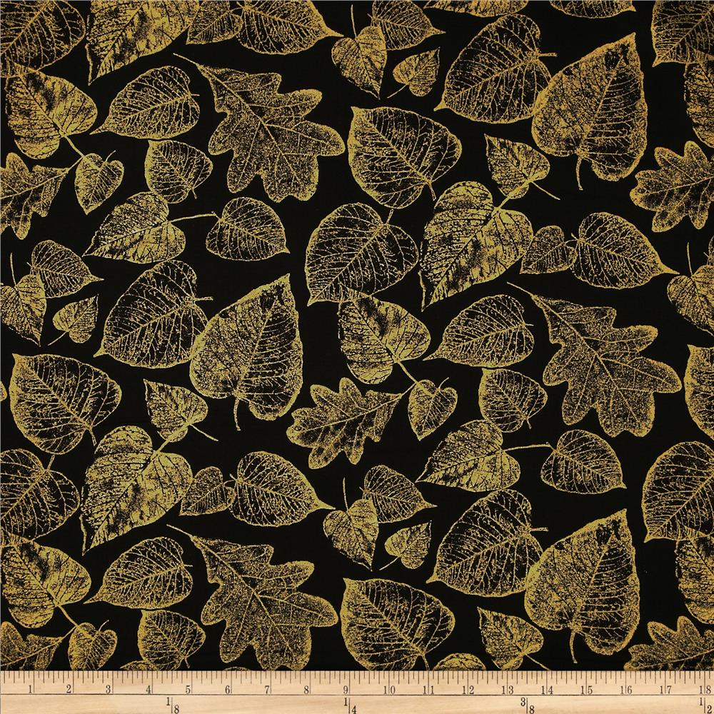 Kanvas Sunflower Fields Metallic Gilded Leaf Black