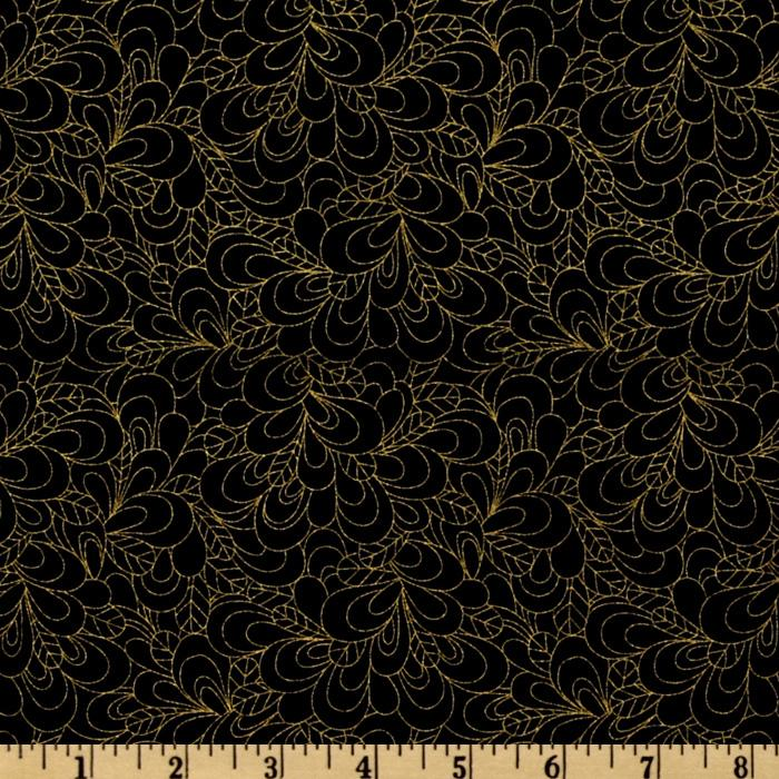 Timeless Treasures Shimmer Petals Gold/Black