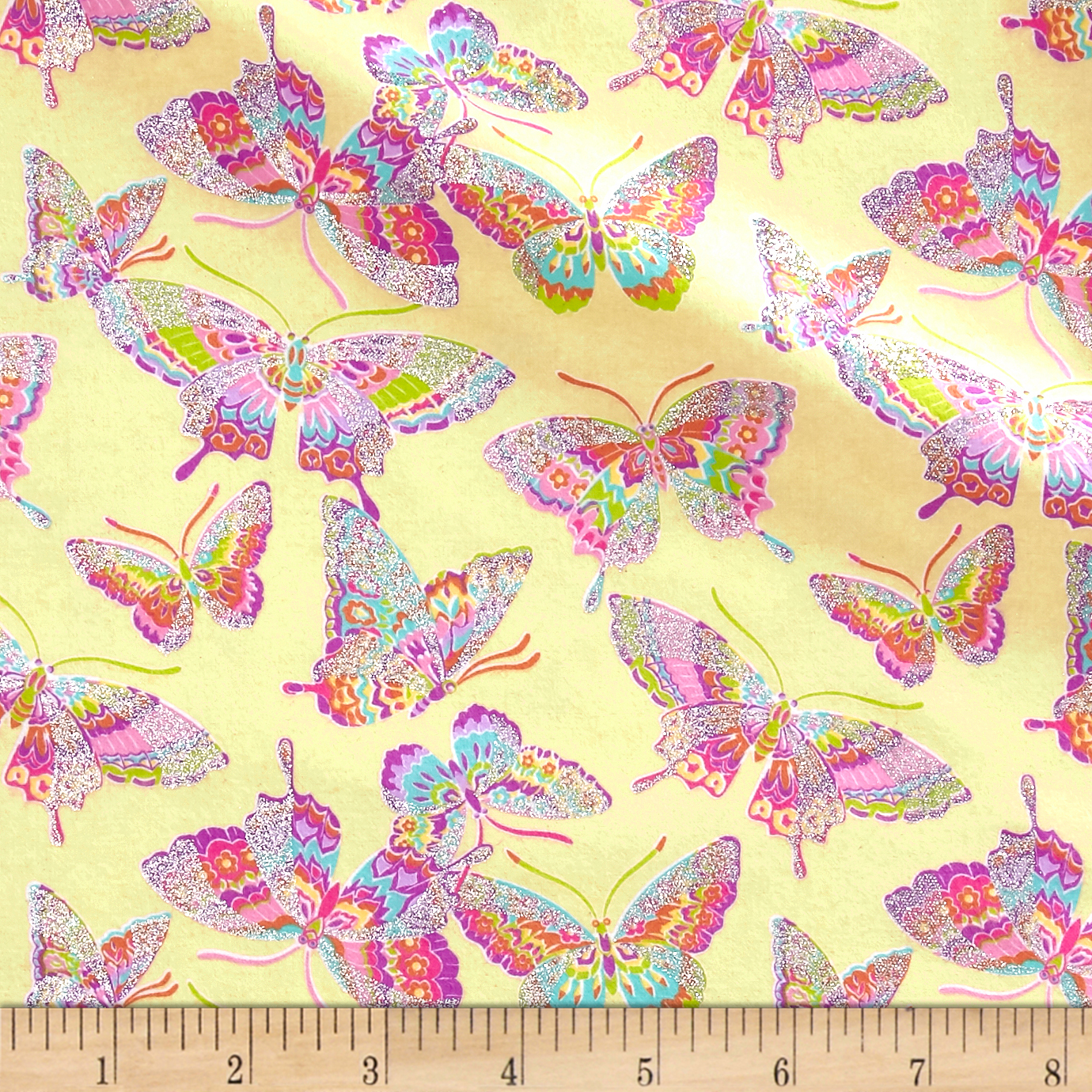 Pizzaz Flannel Glitter Butterflies Yellow Fabric by Fabric Traditions in USA