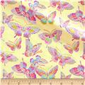 Pizzaz Flannel Glitter Butterflies Yellow