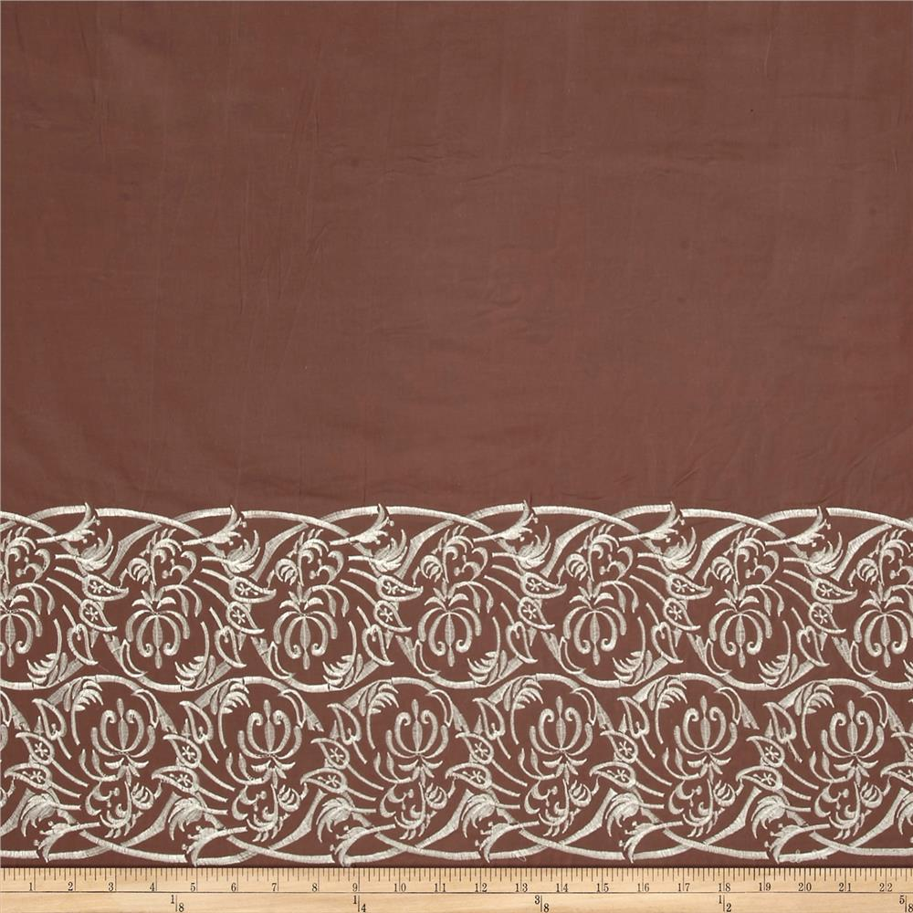 Embroidered Lawn Single Border Floral Taupe/Silver
