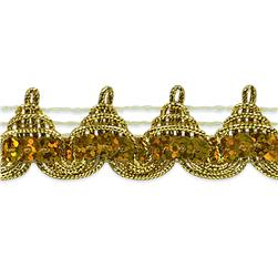 3/4'' Averil Pointed Sequin Braid Trim Roll Gold